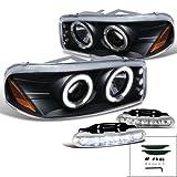 05 denali halo headlights - GMC Yukon Denali XL Halo Black LED Projector Headlights W/LED Fog Lamp