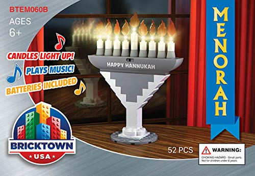 BRICKTOWN - Hanukkah Menorah with Lights and Music - Silver (Light Menorah Hanukkah)