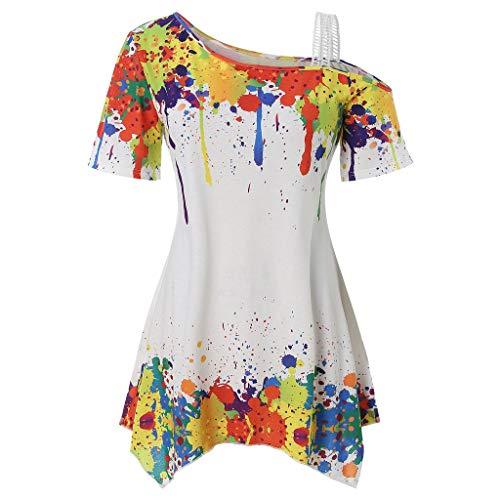 (Colorful Graffiti T-Shirt! Women's Fashion Off-The-Shoulder Colorful Inkjet Short-Sleeved Irregular Shoulder Hem T-Shirt Top White)
