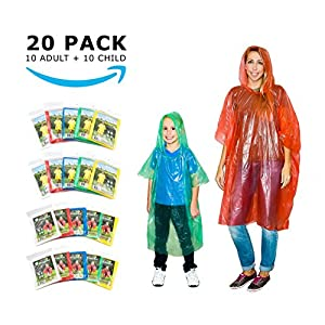 20 Rain Ponchos Family Pack Adults and Children Poncho Disposable Emergency Ponchos (0.2) one time use