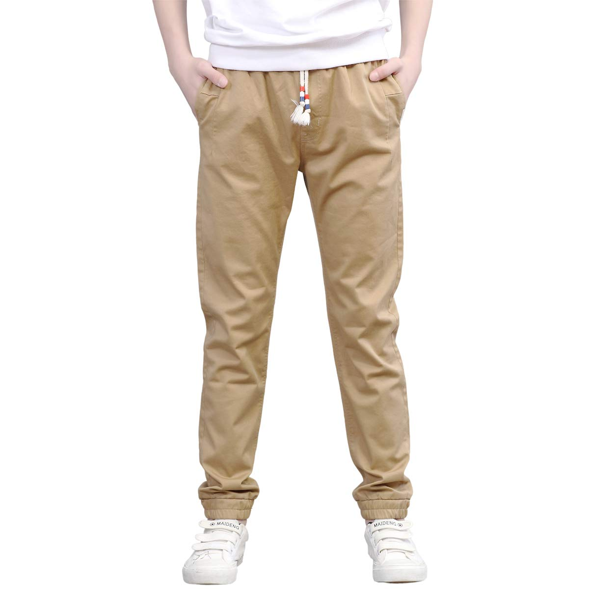 CNMUDONSI Jogging Pants for Boys 7-16 Years Old Kids Casual Active Pants Slim Fit (M705-Khaki150)