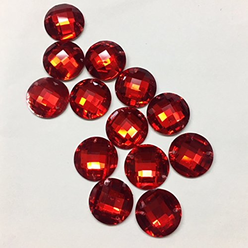 Crystal Red Siam Round 15MM Resin Stone Sew-on or Glue-On Sold Per Pack/120 Pieces by Top Trimming