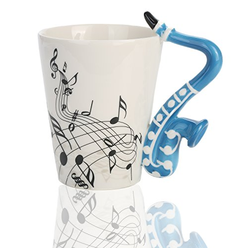 Saxophone Music Unique Handle Art Musical Notes Holds Tea Coffee Milk Ceramic Mug Cup 12 Oz Best Gift,Black