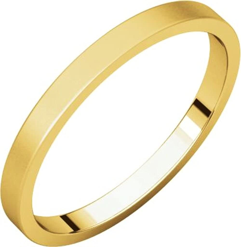 Bonyak Jewelry 18k Yellow Gold 2 mm Flat Band Size 10