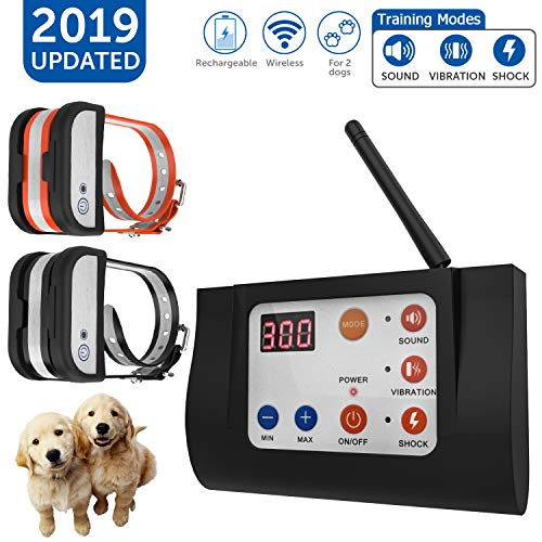 OCACA [2019 Updated] Remote Dog Training Collars with Wireless Dog Fence 2 in 1 System, Outdoor Adjustable Sound/Vibration/Shock Function, Waterproof & Rechargeable No Bark Collar for 2 Pets