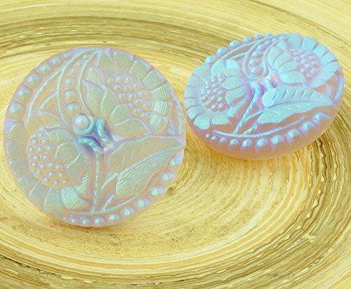 Glass Button Flower Beads - 2