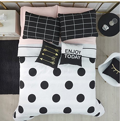 POLKA DOTS/STRIPES TEENS GIRLS CUTE COLLECTION REVERSIBLE COMFORTER SET 3 PCS TWIN - Polka Dots Cute