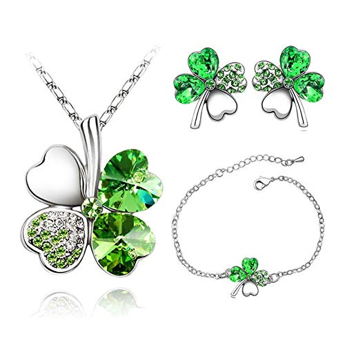 AILUOR Four Leaf Clovers Jewelry Set, Fashion Austrian Crystal Lucky Four Leaf Clover Pendant Necklace Bracelet Stud Earrings Set for Women Girl Bridal Wedding Jewelry (Green)