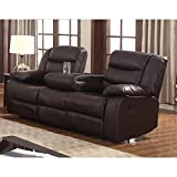 US Furnishing Express Gloria Faux Leather Living Room Reclining Sofa with Drop Down Table Dark Brown
