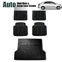 FH GROUP FH-F11305+F16400 Full Set Black All Weather Heavy Duty Auto Floor Mat and Black Trunk Cargo Liner