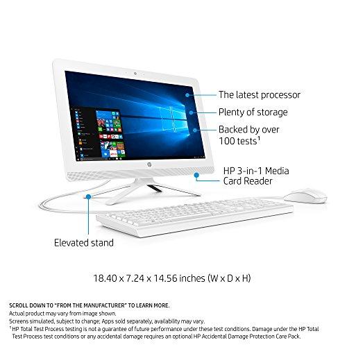 HP 19-inch All-in-One Computer, Intel Celeron J3355, 4GB RAM, 1TB hard drive, Windows 10 (20-c210, White) by HP (Image #1)