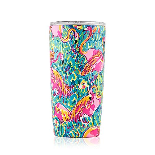 DOKIO 20 oz Flamingo Painting Double Wall Vacuum Insulated Tumbler with Lid Sippy Cup For Adults Wine Glass Travel Cup Stemless Stainless Steel For Ice Drink & Hot Drink Coffee Outdoor Camping by DOKIO