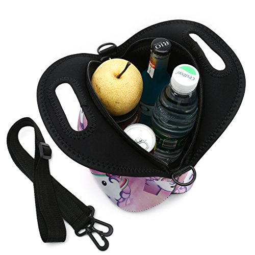 Insulated Neoprene Lunch Bag Removable Shoulder Strap Reusable Thermal Thick Lunch Tote Bags For Women,Teens,Girls,Kids,Baby,Adults-Lunch Boxes For Outdoors,Work,Office,School (Many Unicorns) by HAPPYLIVE SHOPPING (Image #6)