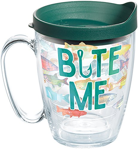 Tervis 1267543 Bite Me Bait Tumbler with Wrap and Hunter Green Lid 16oz Mug, Clear