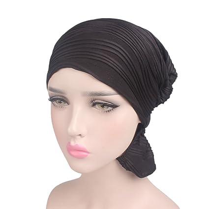 53fdd4c6a8a Amazon.com  Wcysin Womens Turban Brim Hat Cap Pile Chemo Hat Beanie ...