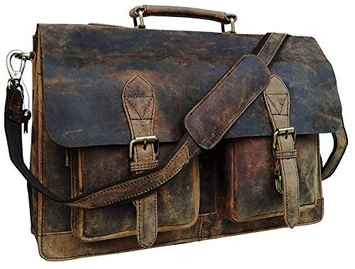 18 Inch Vintage Computer Leather Laptop Messenger Bags for Men Leather Briefcase Shoulder Bag Man & Women Bag