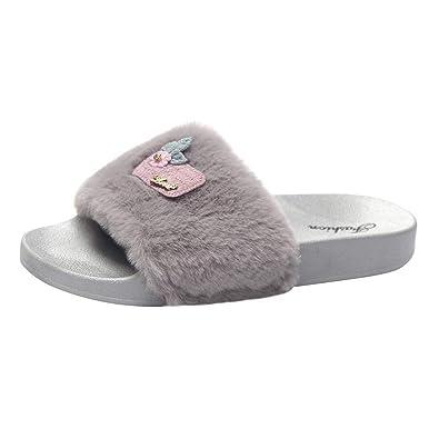 5c32a186 Sonnena Womens Ladies Slip On Sliders Fluffy Faux Fur Flat Slipper Flip  Flop Sandal: Amazon.co.uk: Shoes & Bags
