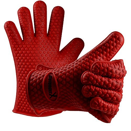 Silicone Gloves [Thickened 190g x2PCS]- DefenderX Microwave oven Heat Insulated Gloves - Premium Home Kitchen Silicone Heat Resistant Grilling BBQ Gloves for Cooking, Baking, Smoking & Potholder by defenderX