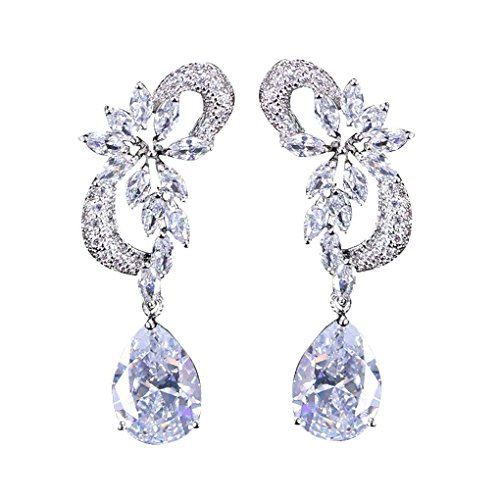 Price comparison product image Bobury Vintage Style Zircon Decor Women Girls Luxury Earrings Copper Drop Pendant Dangle Ear Studs Loop Jewelry