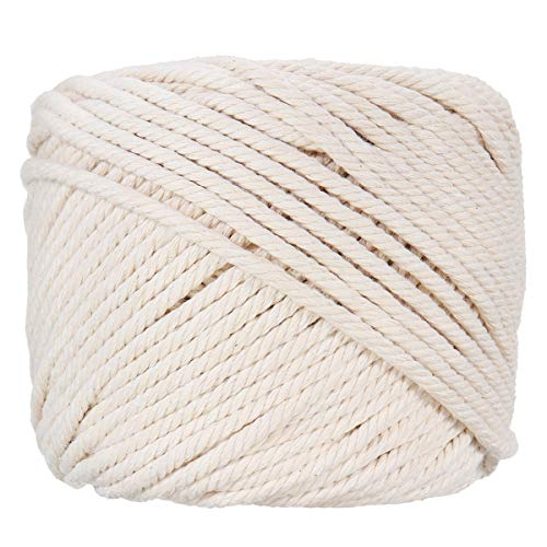 Splendid Mart Macrame Cord 4mm X 110m (About 120 yd) Natural Cotton Handmade Decorations Macrame Wall Hangings Plant Hanger DIY Craft Knitting Rope