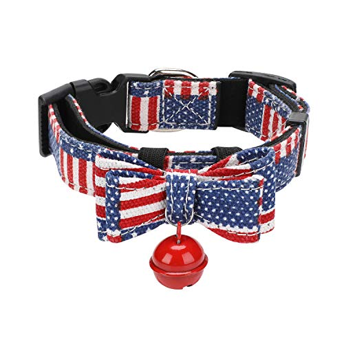 (Oumers Christmas Dog Collar, Xmas Pet Collar with Separable Double-Deck Bowtie Jingle Bell &Alloy Metal D Ring - Christmasy Pattern Dog Collar,Cute Adjustable Collar for Dog Cat Pet Accessories )