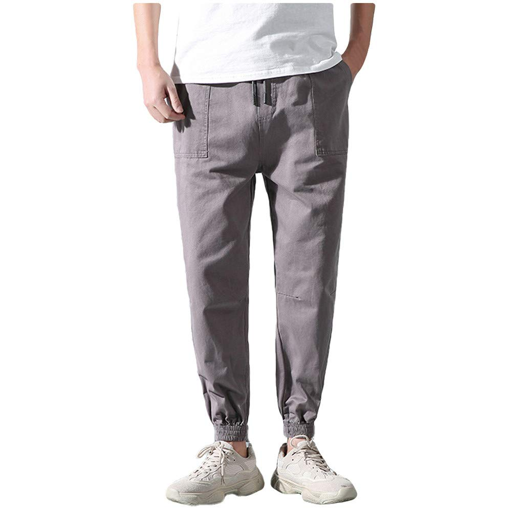 Leadmall Men's Baggy Pants - Men Casual Outdoor Jogger Sports Drawstring Ankle-Length Trousers - Solid Color Pockets Harem Slacks