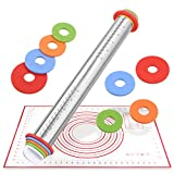 Bonropin Rolling Pin, Adjustable Stainless Steel Rolling Pins Dough Roller with 4 Removable Adjustable Thickness Rings and Pastry Mat for Baking Dough, Pizza, Pie, Pastries, Pasta and Cookies (Adjustable Rolling Pin with Baking Mat)