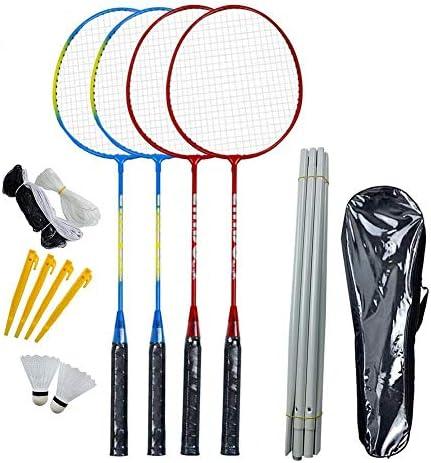 Magent Badmintonset, 4 Legierung Leichtgewicht Badmintonschläger Badmintonset Mit Netzpol Für Hinterhof Strandspiel Einsteiger, Freizeit- Und Hobbyspiele