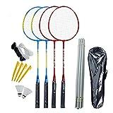 Obobb - Juego de 4 raquetas de bádminton para patio trasero y playa