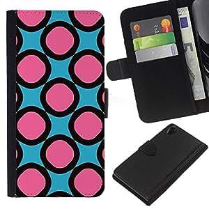 All Phone Most Case / Oferta Especial Cáscara Funda de cuero Monedero Cubierta de proteccion Caso / Wallet Case for Sony Xperia Z2 D6502 // Pink Pattern Rings Girly