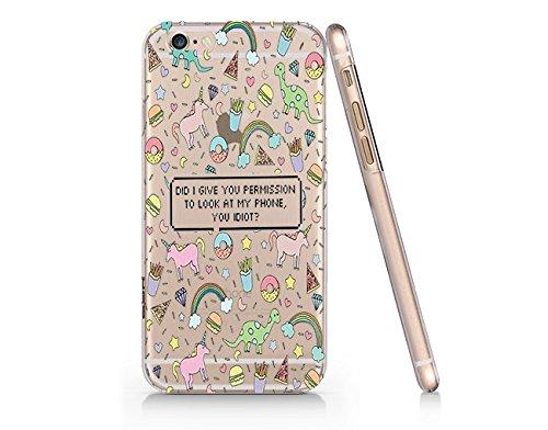 hot sale online 50173 7d8ff Amazon.com: Unicorn Donut Pattern Slim Iphone 6 Plus Case, Clear ...