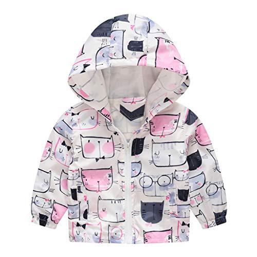 Kehen Boy's Girl's Dinosaur Print Zip Jacket Hooded Windproof Raincoat Toddler Baby Long Sleeve Hoodie Trench Coat (#4 White, 18-24 Months) ()