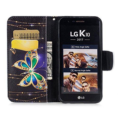 Hülle für LG K10 2017 Schwarz,(Nicht für 2016 Alt Version) Handyhülle LG K10 2017,BtDuck Ultra Slim PU Leder Buntes Muster Ledertasche Hülle Tasche Hülle Flip Buch Stil Strap Lederhülle Schutzhülle fü K10 2017 Version - Glitzer Schmetterling