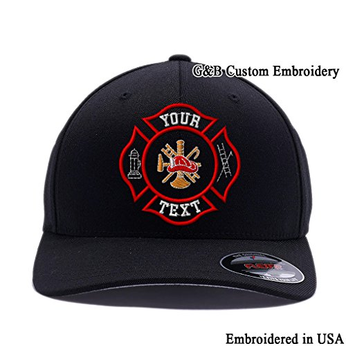 Yupoong Custom Hat. Firefighter Cap Flexfit 6477. Embroidered. Your Own Text on it. (S/M, Black)