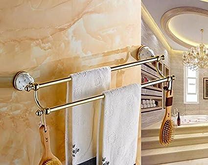 ZQ estilo vintage baño Juego baño toalla Juego Latón antiguo Porta Toallas en el baño estante