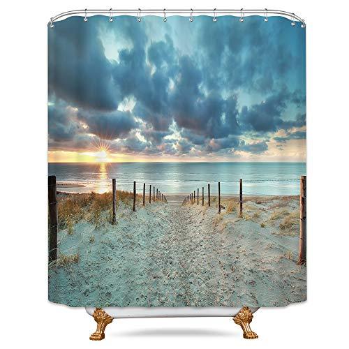 (Riyidecor Ocean Beach Scenic Shower Curtain Weighted Hem North Holland Brown Sundown Blue Sky Seaside Landscape Sand Decor Fabric Panel Bathroom Clawfoot Tub 72x72 Inch 12 Pack Plastic Shower Hooks)