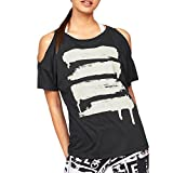 iLOOSKR Fashion Short-Sleeved Bottoming Shirt tee Ladies Off-The-Shoulder Print Yoga Shirt T-Shirt(Black,S)