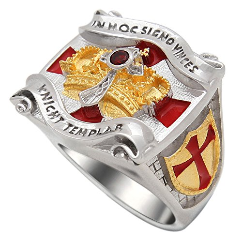 UNIQABLE Handmade Knight Templar Masonic Ring 18k Gold PLD White Version Cross & Crown 45 Gr BR-2 (11.5)