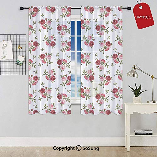 - Pattern with Rose Stems Flowers Garden Classic English Style Design Repeat Art Decorative Rod Pocket Sheer Voile Window Curtain Panels for Kids Room,Kitchen,Living Room & Bedroom,2 Panels,Each 52x72 I