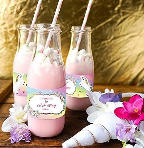 24 unids tarjetas agradecimiento de unicornios para vasos, servilleteros, invitaciones, recuerdos, scrapbooking, decoracion bodas, bautizos, ...