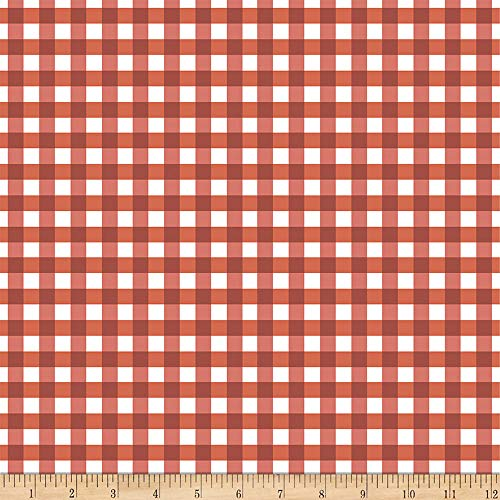 Flower Market Gingham Red Fabric by the Yard