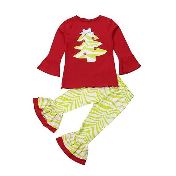 K-youth Ropa Bebe Niña Navidad Arbol de Navidad Camiseta de Manga Larga Ropa de Bebe Niño Recien Nacido Conjunto Niña Pantalon y Top Fiesta Ropa de Niña a la Moda 2 Piezas(Blanco,