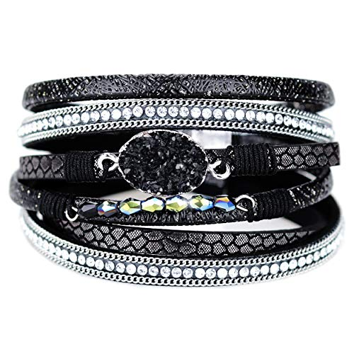 Eivanc Black Multi-Layer Natural Stone Leather Bracelet Wrap Boho Braided Cuff Bangle Bracelet Bead Crystal with Magnetic Clasp for Women