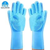 MATOW Magic Saksak Silicone Gloves Dishwashing Scrubber, Reusable Dish Wash Rubber Scrubbing Sponge Cleaning Gloves for Washing Kitchen, Bathroom, Car and Pet-(1 Pair: Left and Right,Blue)