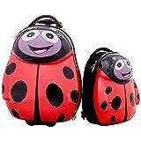 HONEY JOY 2Pc 13'' 19'' Kids Carry On Luggage Set Travel Trolley Suitcase for Boys and Girls (Ladybug)