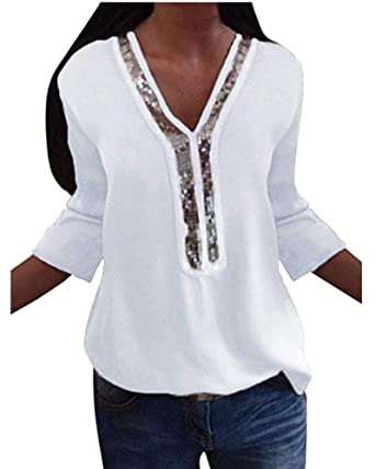 abb548be32b Kuncg Chemisier Femmes avec Paillettes Shirt Haut Couleur Unie Blouse Col  en V Tops T-