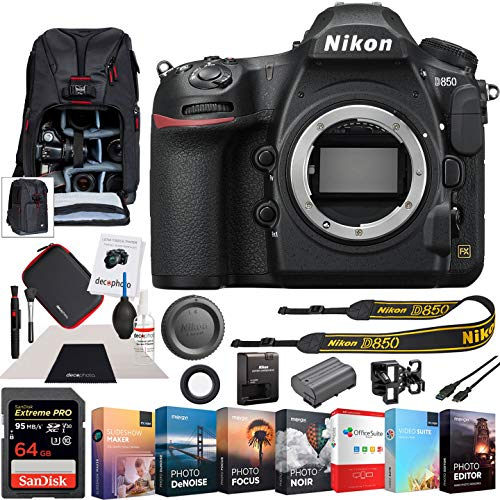 Nikon D850 FX-Format Full Frame Digital SLR DSLR Wi-Fi 4K Camera Body with Deco Gear Photography Sling Backpack Cleaning Kit Power Editing Bundle