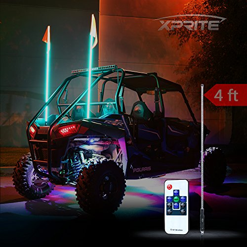 Xprite 4ft (1.2M) Remote Control Flag Pole Whip Light with RGB Colors for Offroad, Buggy, Dunes, Atv, Utv, Trucks Atv Dune Buggy