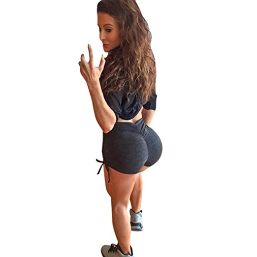 c590b2b78ff9 Amiley Hot Sale Summer Pants Women Sports Butt Lifting Shorts Gym Workout  Waistband Skinny Yoga Short