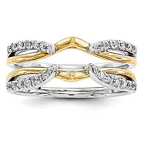 DreamJewels Simulated Diamond Enhancer Solitaire Engagement Ring 1/4 ct 14k Two Tone Gold Plated Guard Wrap Jacket (10) Alloy